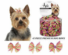 "42 ct Premium DOG Striped Ribbon BRANDY 2"" BOWS w/Elastic Band HAIR Top Knot"
