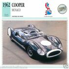 COOPER MONACO 1962 CAR VOITURE Great Britain GRANDE BRETAGNE CARTE CARD FICHE