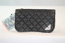 """ROXY """"YOUNG ONCE"""" BLACK FAUX LEATHER DESIGNER GRAPHIC BI-FOLD WALLET/HAND PURSE"""