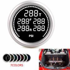 """2""""52mm 7 Color LCD Air Suspension Pressure Gauge Bar&PSI Dual Air Ride Meter 12V"""