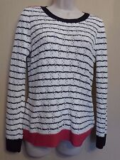 Per Una UK12 EU40 US8 white striped long-sleeved pointelle jumper with pink trim