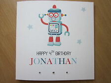 Personalised Handmade Boys Robot Birthday Card - 2nd 3rd 4th 5th 6th, Any Age