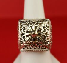 Unique Ladies 925 Sterling Silver Greek Square Filigree Chunky Dome Ring Size 9