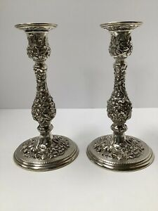 "Kirk Repousse Sterling Silver Candlesticks. 8 1/4"" High. Antique American"