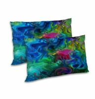 Abstract Printed Satin Pillow Cover Set Home Decor Rectangular Cushion Case