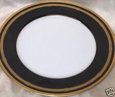 "CHRISTIAN DIOR GAUDRON ONYX DINNER PLATE 10 7/8"" GOLD TRIM BLACK BANDS"
