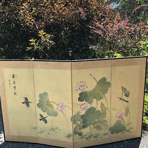 Antique Signed Japanese Hand-Painted 4 Panel Folding Screen