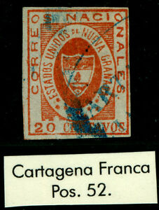 """COLOMBIA 1861 ARMS of New GRANADA 20c red Sc# 17 used  """"CARTAGENA-FRANCA"""" cancel"""