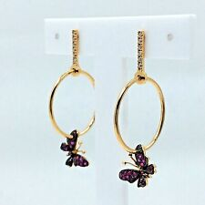 Hoop Earrings 18k (750) Rose Gold Butterfly Diamonds Rubies New Collection