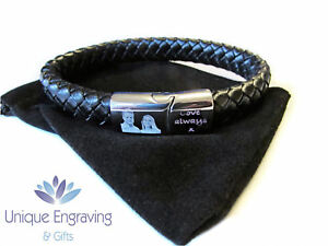 Personlised photo engraved tribal leather ID bracelet - Great Valentine's Gift!
