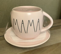 Rae Dunn - MAMA - LL Pink Ceramic Coffee / Tea Mug w/ saucer