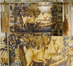 Dollhouse Tapestry 2 Lovely Deers in Dark Wood 1/12 Scale