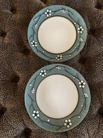 "Pfaltzgraff Flora Tea Dinner Plate 11"" Cream Slate Blue Black Antiqued Look"