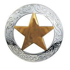 """1 1/2"""" NICKEL PLATED CONCHO & 18 KARAT GOLD PLATED TEXAS STAR - FREE SHIPPING!"""