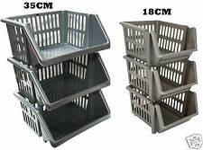 Plastic Stacking Storage Basket Stackers Rack Stand Kitchen Vegetable Office