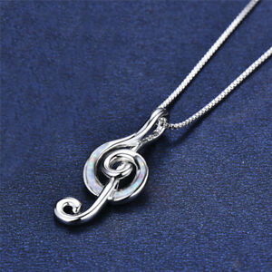 Hot Silver Lab White simulated Opal Cz Musical Note Necklace Pendant Jewelry
