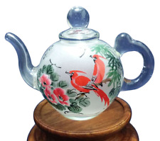 Handmade reverse painted glass teapot, antique, Chinese art, unique gift