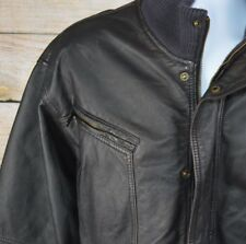 MARC ECKO Leather Men's Brown Flight Bomber Jacket Vintage Style Size XL