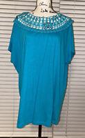 New Women's Roamans Teal Crochet Short Sleeve Blouse Plus Size 14/16 Shirt Top
