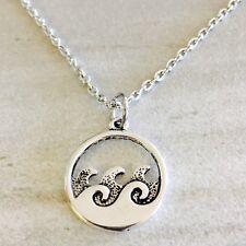 "Silver Ocean Wave Necklace Nautical Beach Theme Tropical 18"" Chain"