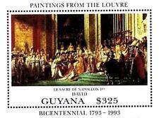 GUYANA 1993 PAINTINGS / LOUVRE MUSEUM = FRANCE S/S MNH NAPOLEON CORONATION,DAVID