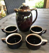 Pfaltzgraff Brown Drip Coffee Pot & 4 Mugs