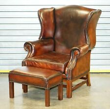 MASSIVE RESTORED LIGHTLY DISTRESSED BROWN LEATHER WINGBACK ARMCHAIR & FOOTSTOOL
