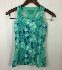 Women's Tek Gear Athletic Workout Tank Top Teal Floral Built in Bra Size XS
