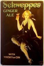 Schweppes Ginger Ale Motiv 1 Blechschild Schild 3D geprägt Tin Sign 20 x 30 cm