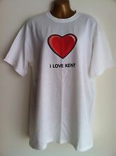 """NWOT 'I LOVE KENT' Red Heart White T Shirt Top Size Large Chest 40 - 42"""" NEW"""