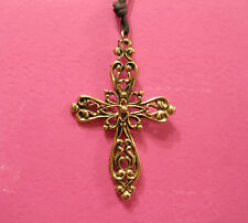 VINTAGE CELTIC CROSS NECKLACE GOLD TONE GOTH MYSTIC OCCULT UK IMPORT