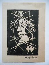 René Marcel GRUSLIN (1910-1983) Belle Gravure 1950 Abstrait Brut Cubiste Cubisme