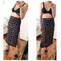 Floral Midi Skirt With Side Slits By Australian Beachwear Brand Tigerlily Sz S