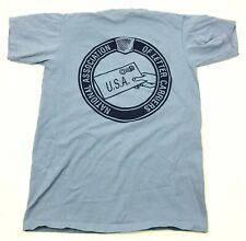 VINTAGE Letter Carrier Shirt Size Medium Baby Blue Double Sided Tee NALC Mailman