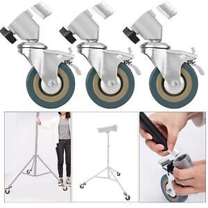 Heavy Duty Castor Wheels Dolley Swivel Brake Photo Studio Tripod Light Stand
