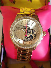 NWT Betsey Johnson Gold Boyfriend Watch Clear cystals w/ leopard sparkle heart