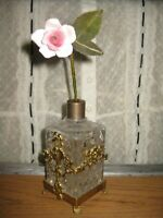 Vintage Vanity Victorian Inspired Ormolu Cut Glass Perfume Bottle Porcelain Rose