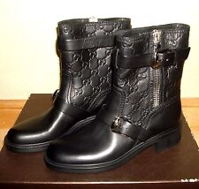 $995 NEW AUTHENTIC GUCCI GG Embossed EDIE MOTORCYCLE BIKER LEATHER BOOTS 36 6