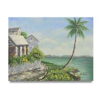 NY Art - Coastal Vacaction Home 12x16 Original Oil Painting on Canvas - On Sale!