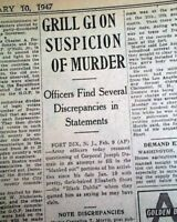 BLACK DAHLIA Elizabeth Short Los Angeles CA HOLLYWOOD Murder Case 1947 Newspaper