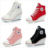 Women's High Top Wedge Heel Sneakers Ladies Lace Up Sport Shoes Canvas Pumps New