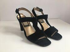 265b355d610 Nina Black Velvet Open Toe Block Heel Sandals Ankle Strap Size US 7.5 M
