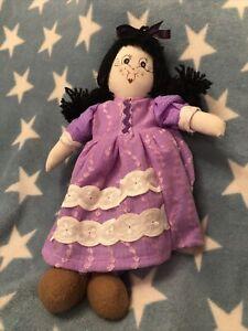 Unusual Unique OOAK Vintage Handmade Rag Doll Purple Dress Black Hair 35cm