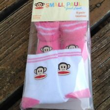 Small Paul Frank Pair Of Pink White Julius Monkey Baby Booties Socks 0-12 Mo NEW