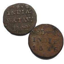 2x Authentic 1800's Copper Duit Shipwreck Coins VOC Indonesian Dutch Relic Lot
