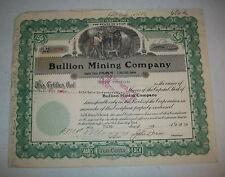 BULLION MINING COMPANY 1939 STOCK 656 Shares UTAH Gold and Silver J A HOGLE