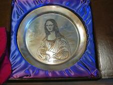 vintage Danbury Mint Plate * Mona Lisa * 14k Gold on Sterling Silver 236 grams