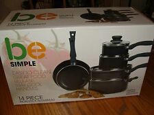 be Simple 14 Piece Cookware Non-Stick Aluminum Easy To Clean Stay Cool Handles