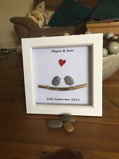 Pebble Art Picture Personalised Wedding Anniversary Framed Gift Handmade New