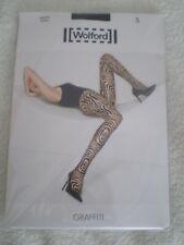 Wolford Tights Graffiti Black on Black Pop Art Meets Animal Tiger Print S New